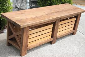 Rustic X Leg Wooden Bench With Built In Crate Storage Made From Simple 2x4s