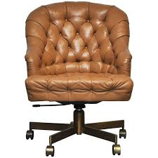 Dunbar Tufted Leather Desk Chair on Bronze Base by Edward Wormley