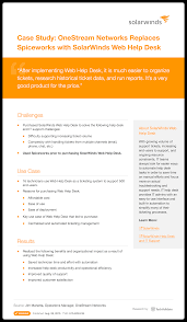 solarwinds web help desk pricing solarwinds help desk and it support study onestream networks