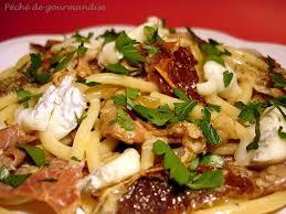 linguines au gorgonzola jambon cru et tomates séchées péché de