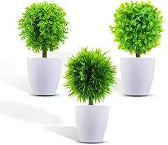 kateluo 3 stücke künstliche pflanzen mit töpfen künstliche blumen bonsai kleinen kunstpflanzen mini kunstpflanzen für raum küche bürotisch