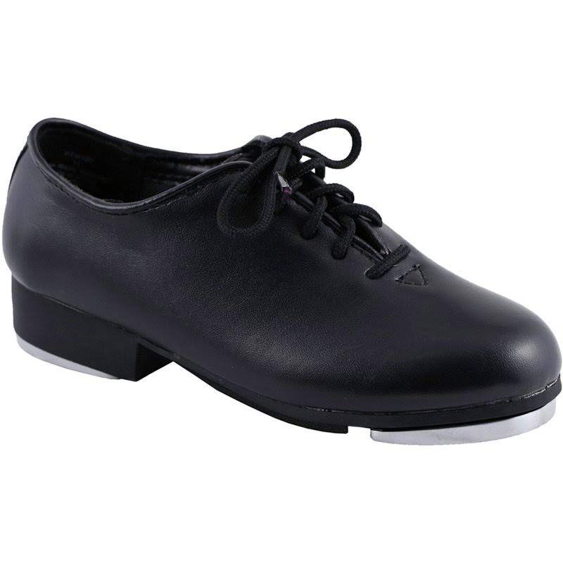 Dance Class Womens PTM101 Full Sole Jazz Tap Oxford Shoe - Black, 8.5 US