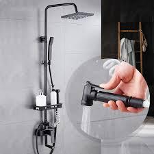 maijiesheng schwarz retro brausegarnitur bad luxus vier funktion dusche bidet regen herbst dusche set schwarz duscharmatur für bad