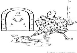 Gangster Spongebob Coloring Pages Trend Medium Size Sponge Bob Mopping The