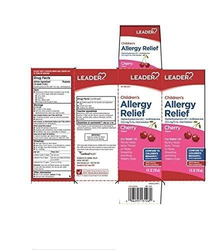 Leader Children's Allergy Relief Liquid Cherry 4oz