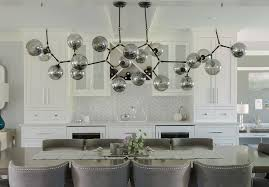 Gray Lacquered Dining Table With Glass Chandelier