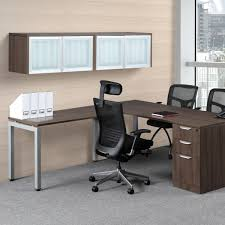 Modern Computer Desk L Shaped by Modern L Shaped Desk With Glass Door Wall Mount Hutch