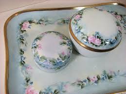 Vintage Vanity Dresser Set by Limoges France Antique Vanity Dresser Set Hand Painted Porcelain