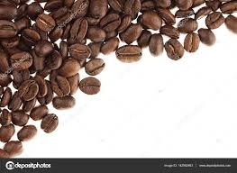 Heap Roasted Coffee Beans As Decorative Border With Copy Space Isolated On White Background