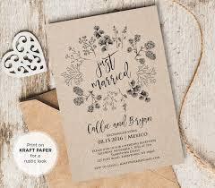 Just Married Elopement Invitation Template Printable Rustic Wedding Announcement Instant Download Fully Editable 018 101EL