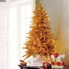 Martha Stewart Gold Tabletop Tinsel Artificial Christmas Tree