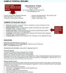 Resume For Government Job Sample Of Federal