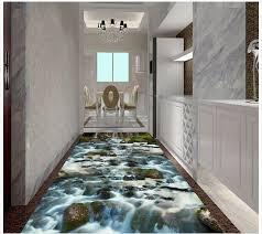 3d Flooring River Stone Creek Bathroom Bedroom 3D Floor Waterproof Wallpaper For Wall