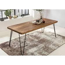 esstisch massivholz sheesham 180 cm esszimmer tisch holztisch metallbeine küchentisch landhaus dunkel braun b h t ca 180 76 80cm