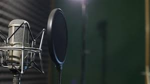 Studio Recording Professional Microphone In The Near Wall With Acoustic Dampening