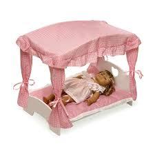 Badger Basket Pink Gingham Princess Canopy Doll Bed
