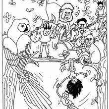 Kids With Wild Animals Coloring Page