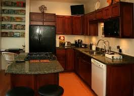pictures of kitchens with dark cabinets and white appliances