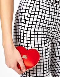 love moschino heart clutch bag in red lyst