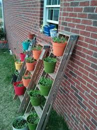 Creative IdeaInnovative Rustic Wood Ladder Garden Planter With Colorful Flowers On Stainless Pots Diy