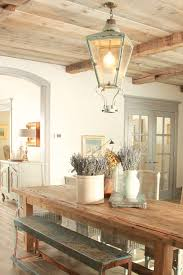 French Country Decor In Dining Room With Rustic Farm Table Aqua Lavender And Provence