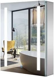 tokvon led spiegelschrank 50 x 70 cm aluminium