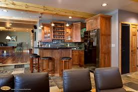 Cool Basements With Wet Bar Ideas And Armless Chairs Also Tile Flooring Barstools Cabinets Plus Man Cave Lighting Ceiling Beams