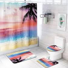 rosy wolken dusche vorhang boden matte vier stück badezimmer mat set haushalt bad zubehör für home душевая занавеска