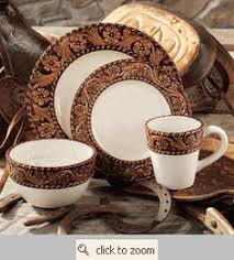 Tooled Leather Style Dinnerware From Montana Silversmiths At Lone Star Western Decor Perfect And