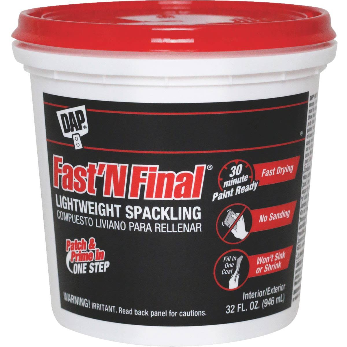 Dap Fast N Final Interior and Exterior Lightweight Spackling