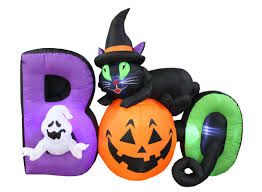Gemmy Inflatable Halloween Train by The Holiday Aisle Halloween Boo Scene Inflatable With Cat Pumpkin