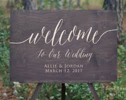 Custom Rustic Wedding Welcome Sign With Gold Writing