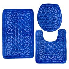 Royal Blue Bath Sets by Elvoki Com Elvoki 3 Piece Bathroom Rug Mat Set Memory Foam And