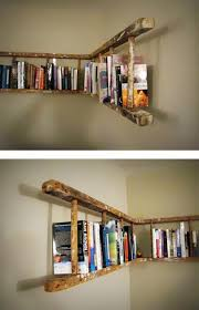 For Book Lovers Who Have Books All Over And No Proper Bookcase Here Is A Brilliant Idea To Organize Your If You Wooden Ladder Just Nail It