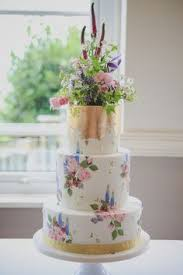 Hand Painted Wedding Cake Country Garden Flowers