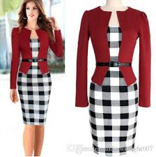 2018 2015 Spring Women Office Dress Work Wear Ladies Vintage Patchwork Knee Length Bodycon Plaid Pencil Plus Size S Xxl Dk4429xl From Andrewknight007