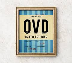 Oviedo art airport code art print vintage style luggage tag