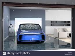 blaue elektrische parkplatz in modernen garage die garage