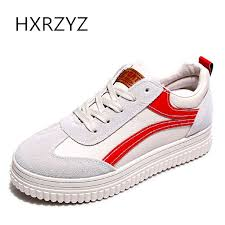 HXRZYZ Women Flats Shoes Canvas Sneakers Spring And Autumn New Fashion Ladies Lace Up Casual
