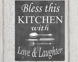 Kitchen Decor Chalkboard Wall Art Ideas Quotes Bless This With Love Black