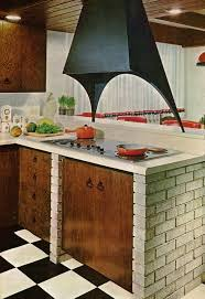 1969 Kitchen With Brick Cabinetry