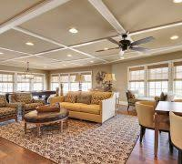 Rustic Coffered Ceiling Living Room Traditional With French Windows Fan