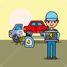 100 Free Tow Truck Service Worker Tow Truck Car Service Battery Oil Bottle Vector Illustration