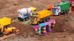 Bridge Construction For Children-excavator,dump Truck,cement Truck ...