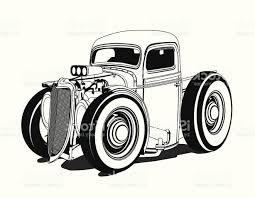Cartoon Hot Rod Pickup Black And White Gm   SOIDERGI