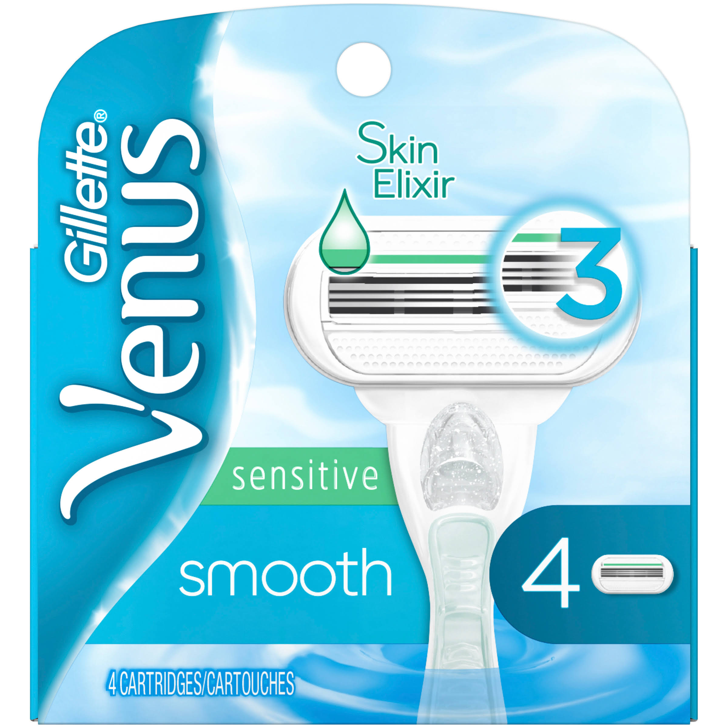 Gillette Venus Smooth Sensitive Womens Blade - 4pk