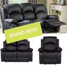 Living Room Recliner Sofa Set Black Leather In M350BN ...