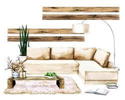 wohnzimmer interieur mit natürlichen neutralen design aquarell illustration