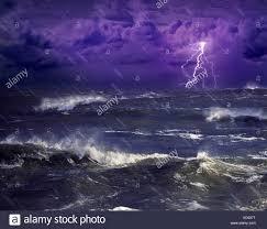Lightning Storm Ocean Stock Photos