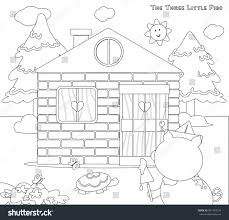 Three Little Pigs Coloring Pages House Of Sticks Eliolera